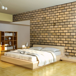 Fototapet - Brick wall in beige color