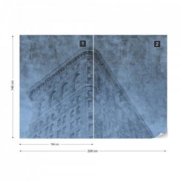Fototapet - Clădire din New York – Efect Grafic Albastru