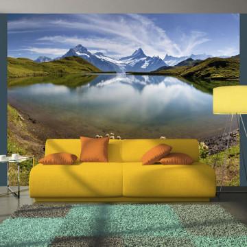 Fototapet - Lake with mountain reflection, Switzerland