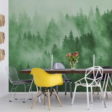 Fototapet - Pădure de Brazi în Ceață – Verde