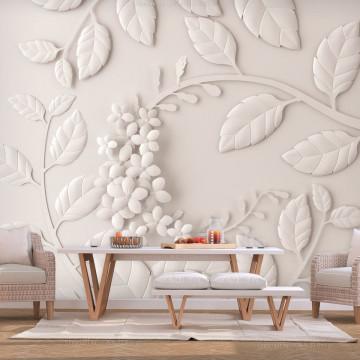 Fototapet - Paper Flowers (Cream)