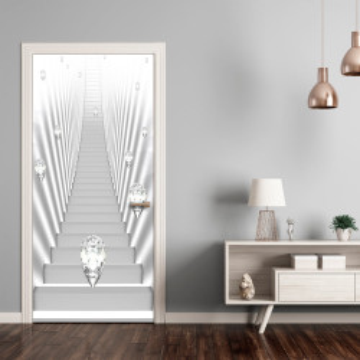Fototapet pentru ușă - Photo wallpaper - White stairs and jewels I