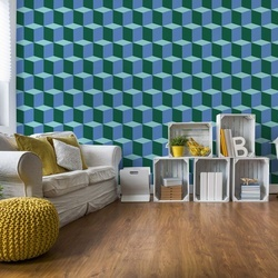 Geometric Design Blue And Green Photo Wallpaper Wall Mural