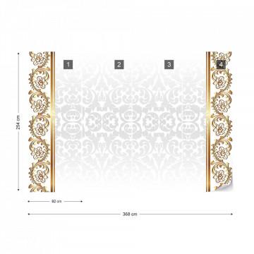 Grey And Gold Ornamental Pattern Photo Wallpaper Wall Mural