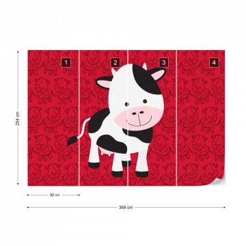 Happy Cartoon Cow Photo Wallpaper Wall Mural