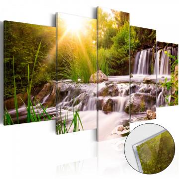 Imagine pe sticlă acrilică - Forest Waterfall [Glass]