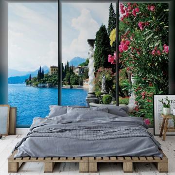 Lake Flowers Landscape Window View Photo Wallpaper Wall Mural