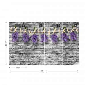 Lavender Bunches On Brick Wall Vintage Style Photo Wallpaper Wall Mural