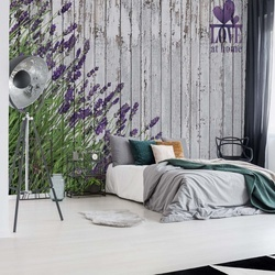 Lavender Rustic Wood Planks Love Vintage Design Photo Wallpaper Wall Mural