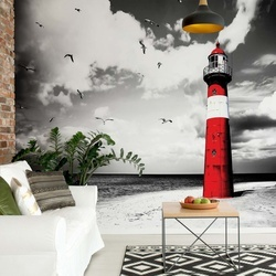 Lighthouse Beach Sea Photo Wallpaper Wall Mural