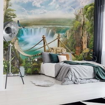 Magical Jungle Waterfall Photo Wallpaper Wall Mural