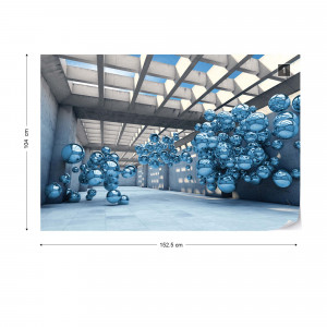 Modern 3D Blue Spheres Architecture View Photo Wallpaper Wall Mural