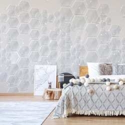 Modern 3D Grey Hexagonal Pattern Photo Wallpaper Wall Mural