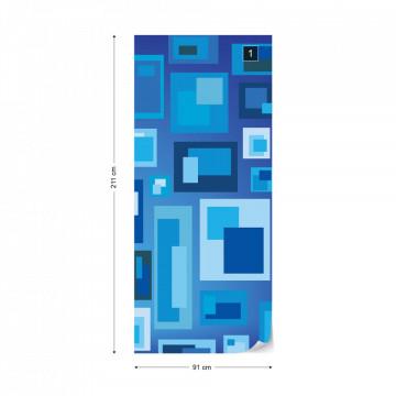 Modern Blue Squares Pattern Photo Wallpaper Wall Mural
