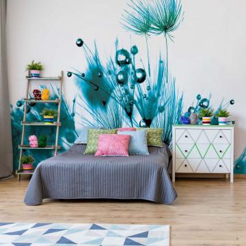 Modern Dandelion Green And White Photo Wallpaper Wall Mural