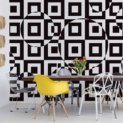 Modern Geometric Pattern Black And White Photo Wallpaper Wall Mural
