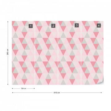 Modern Geometric Pink Triangle Pattern Photo Wallpaper Wall Mural