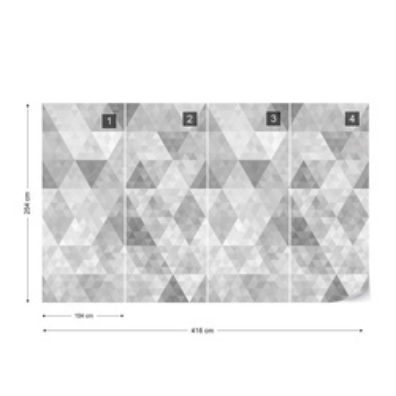 Modern Geometric Triangles Pattern Grey Photo Wallpaper Wall Mural