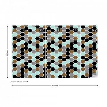 Modern Hexagonal Pattern Photo Wallpaper Wall Mural