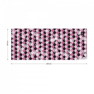 Modern Purple Diamond Pattern Photo Wallpaper Wall Mural