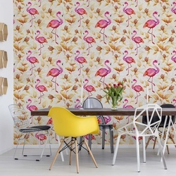 Modern Tropical Flamingo Pattern Yellow Photo Wallpaper Wall Mural