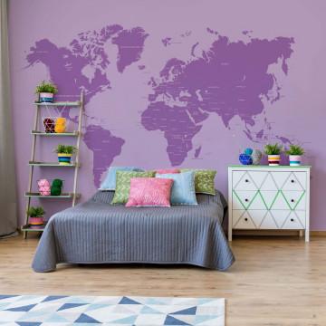 Modern World Map Purple