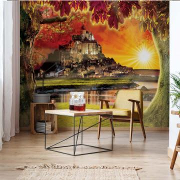 Mont St Michel Castle Sunset Photo Wallpaper Wall Mural