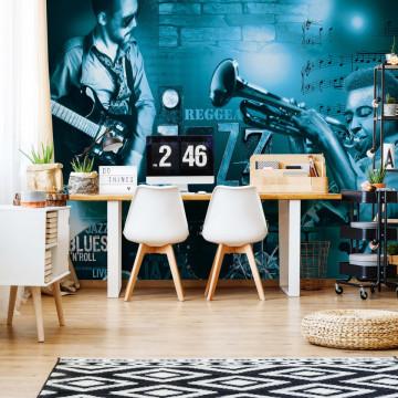 Music Jazz Blue Photo Wallpaper Wall Mural