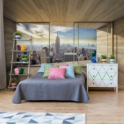 New York City Skyline 3D Modern Window View Photo Wallpaper Wall Mural