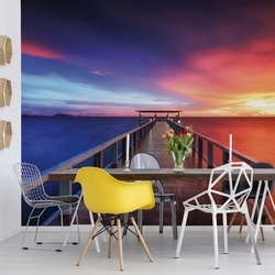 Ocean Pier Dramatic Sunset Photo Wallpaper Wall Mural