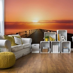 Ocean Pier Sunset Photo Wallpaper Wall Mural