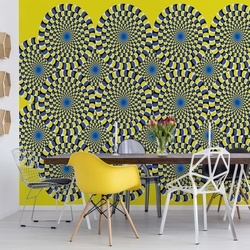 Optical Illusion Yellow Photo Wallpaper Wall Mural