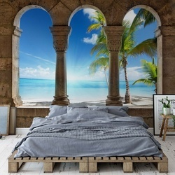Paradise Island Beach View Through Stone Arches Photo Wallpaper Wall Mural