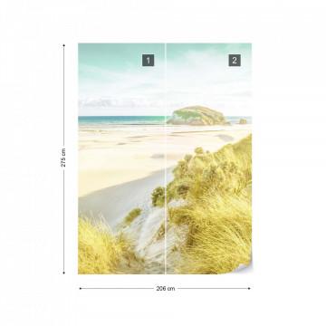 Pastel Colours Sandy Beach Photo Wallpaper Wall Mural