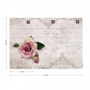 Pink Rose Vintage Design White Wood Texture Photo Wallpaper Wall Mural