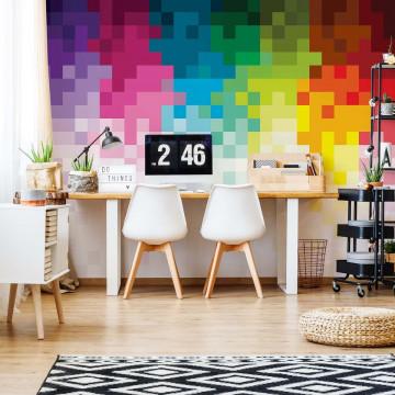 Pixel Pattern Rainbox Colours Photo Wallpaper Wall Mural