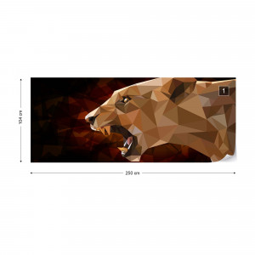 Polygon Lioness Dark Colours Photo Wallpaper Wall Mural