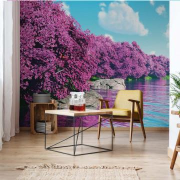 Purple Blossom Trees Lake Calming Photo Wallpaper Wall Mural