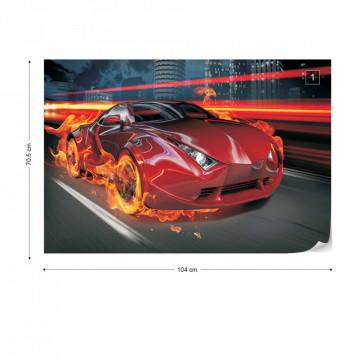 Red Car Photo Wallpaper Wall Mural