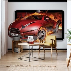 Red Sport'S Car Flames Photo Wallpaper Wall Mural
