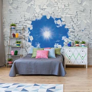Sky Bursting Through Brick Wall Photo Wallpaper Wall Mural