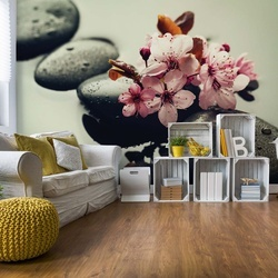 Spa Flowers And Pebbles Photo Wallpaper Wall Mural