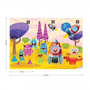Space Monsters Photo Wallpaper Wall Mural