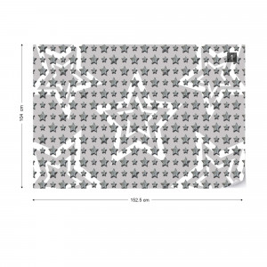 Stars Pattern Grey And White Photo Wallpaper Wall Mural