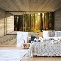Sunrise Forest 3D Modern Window View Photo Wallpaper Wall Mural
