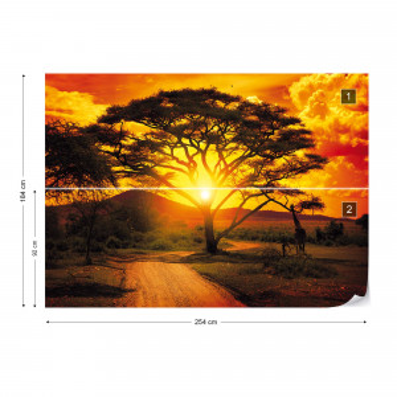 Sunset Africa Nature Tree Photo Wallpaper Wall Mural