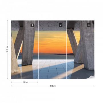 Sunset Ocean 3D Modern View Concrete Photo Wallpaper Wall Mural