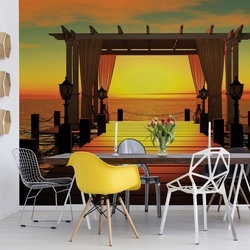 Sunset Paradise Sea Pier Photo Wallpaper Wall Mural