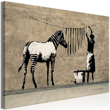 Tablou - Banksy: Washing Zebra on Concrete (1 Part) Wide