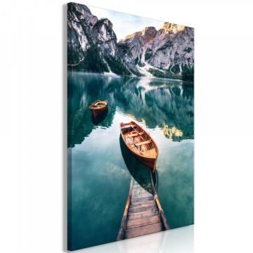 Tablou - Boats In Dolomites (1 Part) Vertical